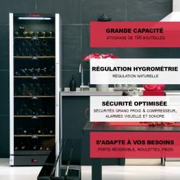 Cave à vin VIP180 multi-zones 180 bouteilles La Sommelière grande capacité