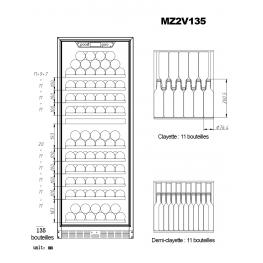 Vinoteca MZ2V135, 2 zonas 135 botellas
