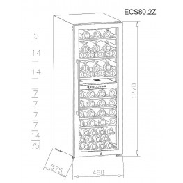 ECS80.2Z Mehrzonen Weinservierschrank 75 Flaschen